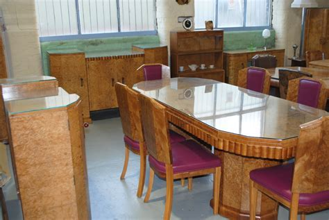 Art Deco Dining table, 6 chairs, Sideboard and Server