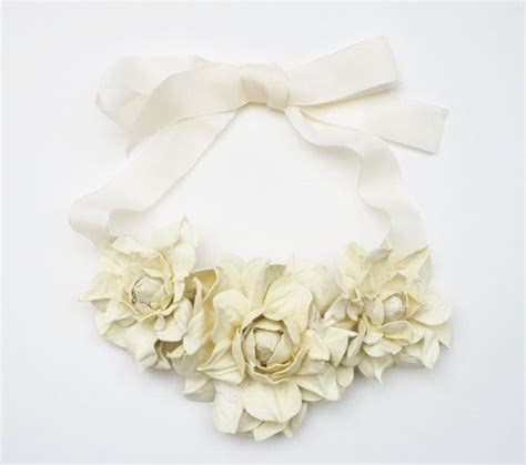 Ivory Leather by Ivory Leather Floral Bib Necklace Made To Order 2063908