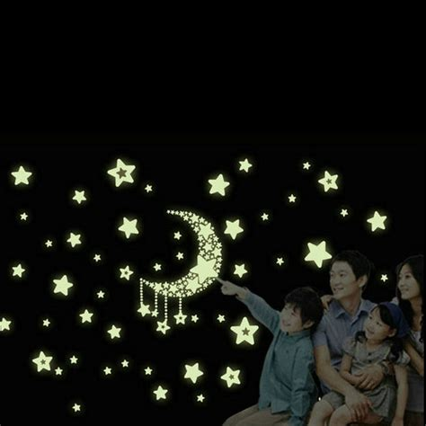 moon and stars bedroom decor moon stars wall stickers noctilucent pvc removable decal