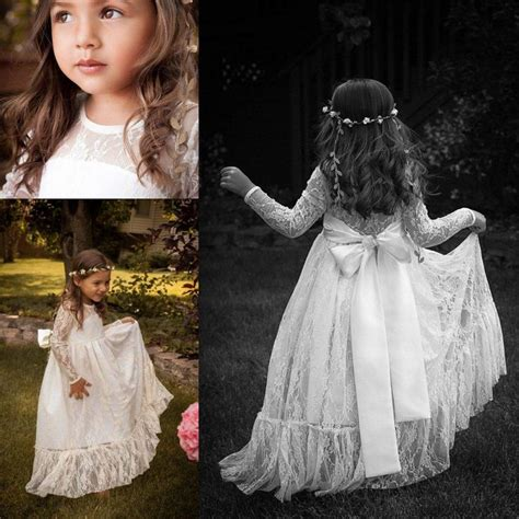 Chiffon Long Sleeve Flower Girls' Dresses For little Baby