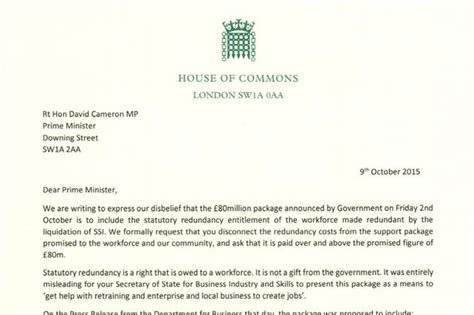 Rent Abatement Letter Uk Ssi Mps Letter To David Cameron Express Disbelief That 163 80m Steel Aid Package Includes