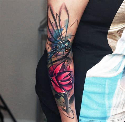 dragonfly amp pink flower sketch arm piece best tattoo