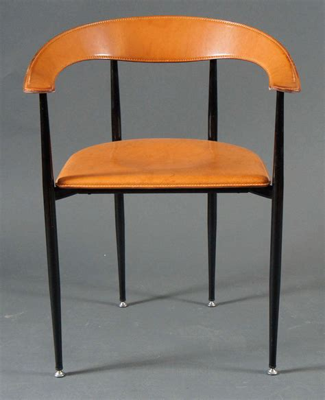 Set Of 8 Italian Leather And Metal Chairs At 1stdibs Leather And Metal Dining Chairs