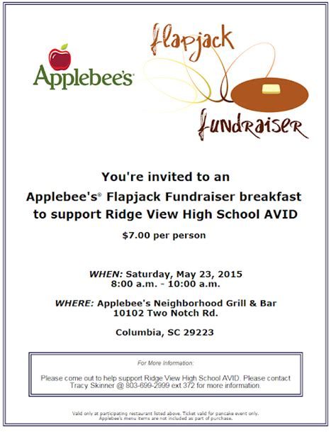 At The View Daily Applebee S Flapjack Fundraiser Set For Saturday Applebee S Fundraiser Flyer Template