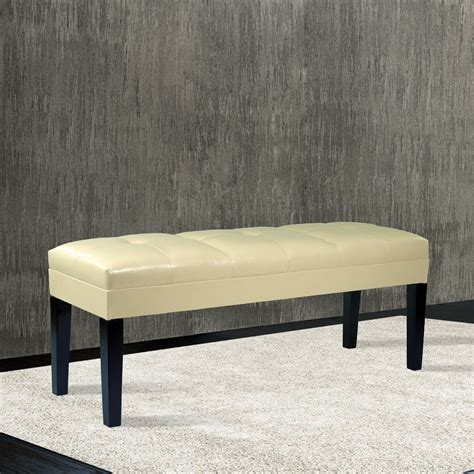 cream leather bench howard cream bonded leather bench lc47211becr armen living