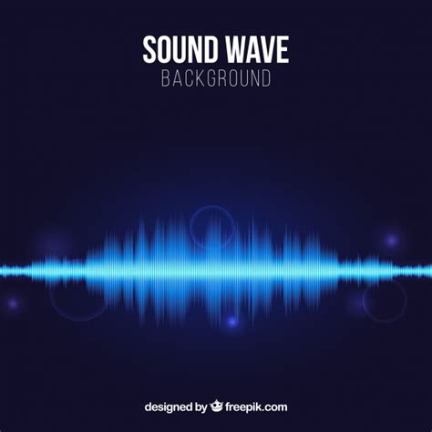 sound wave blue background with sound wave and shiny shapes vector