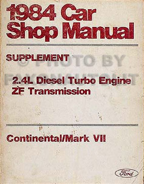 1984 lincoln continental mark vii 2 4l diesel repair shop manual original