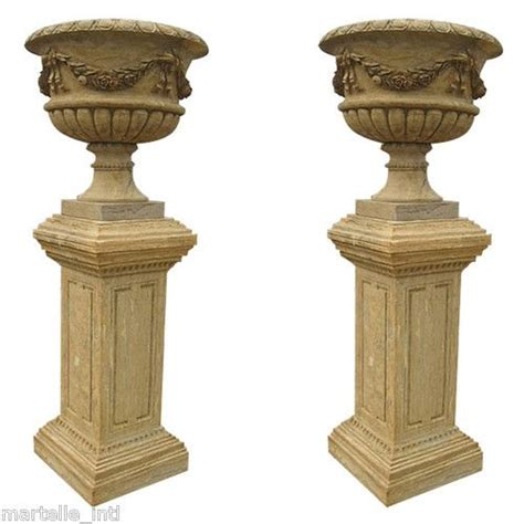 Urn Planters With Pedestal by Pedestal Planter Urn Pair Large Estate Entry Size Cut