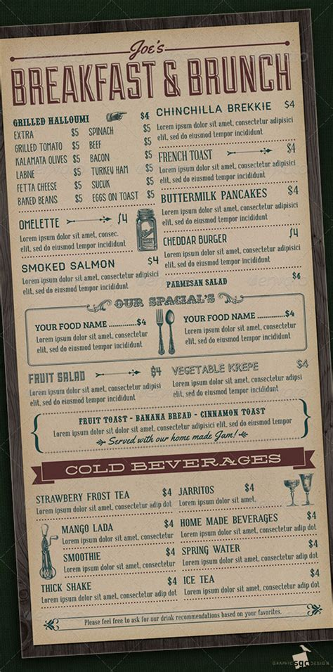 10 brunch menu designs free premium templates