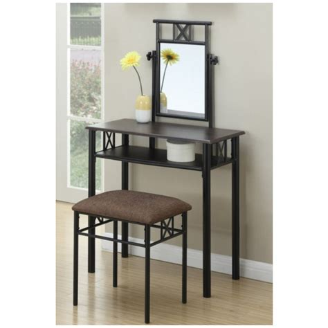 Metal Makeup Vanity by Poundex 3 Pc Janice Collection Black Metal Frame Bedroom