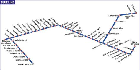 blue line metro map blue line metro connect delhi to ncr regions