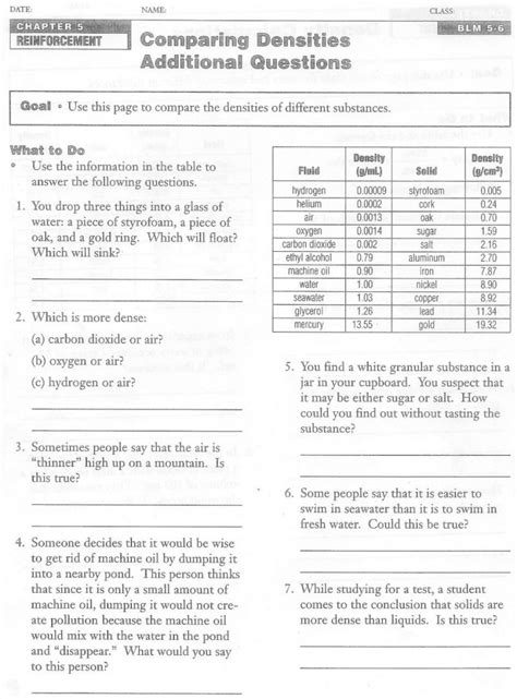 Density Calculations Worksheet Answer Key