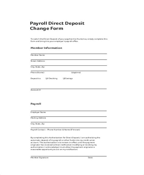 5 generic direct deposit form templates formats examples in
