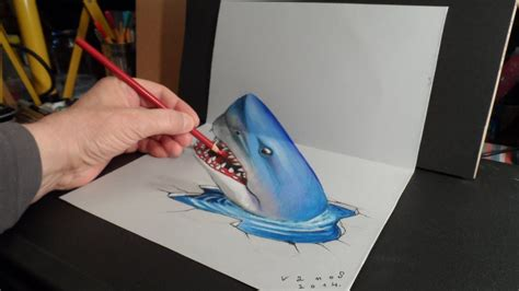 How To Make 3d Pictures On Paper - 3d trick drawing a shark time lapse