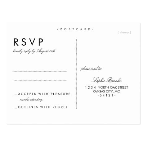 wedding rsvp cards template free simple chic wedding rsvp postcard template zazzle