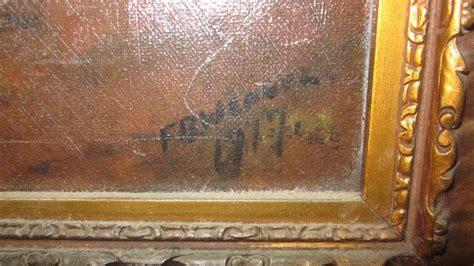 fb canvas original framed oil on canvas fb wennel 1917 lakeside