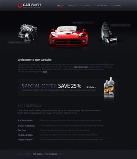 car html template car wash free templates