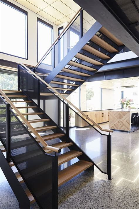 stairs commercial space steel stringers timber steps