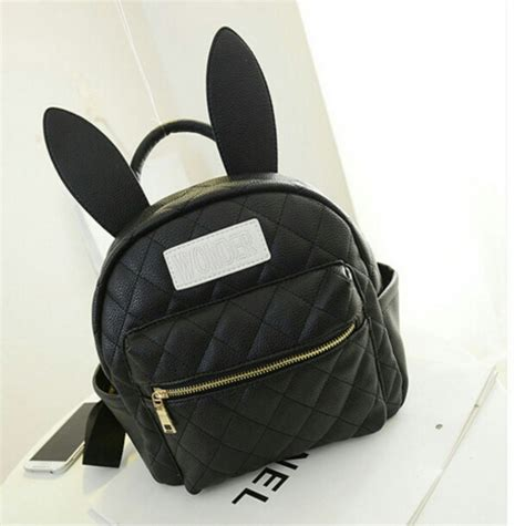 Bunny Backpack In Black bunny ears bag