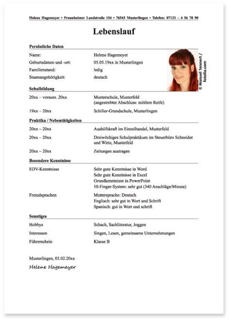 Handgeschriebener Lebenslauf Ausbildung Muster Der Lebenslauf Verwaltungsfachangestellter