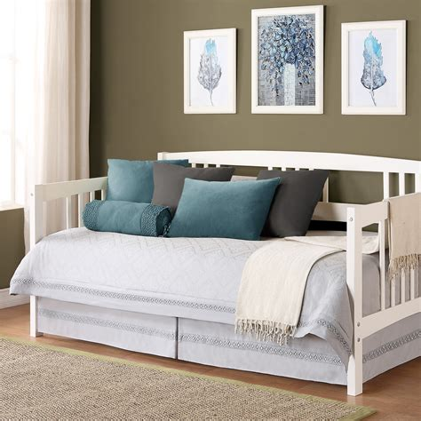 double day bed white wooden daybed with double storages completed by soft