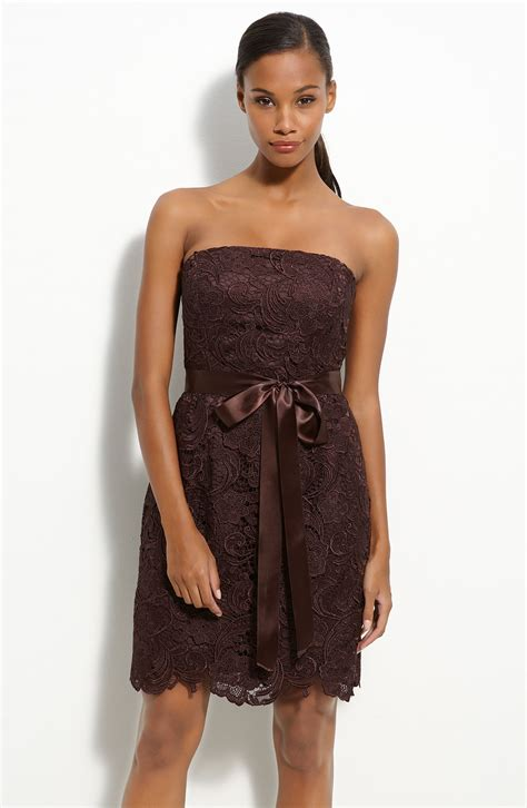 strapless lace sheath dress papell strapless lace sheath dress in brown lyst