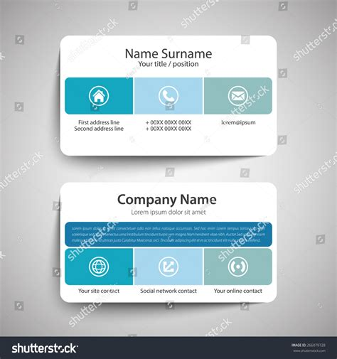 simple business card website template modern simple business card template vector stock vector