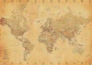 Paper World Map by World Map Vintage Style Giant Paper Poster Camden