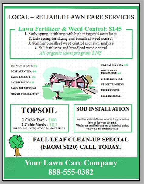 lawn care flyers templates lawn care flyer template word