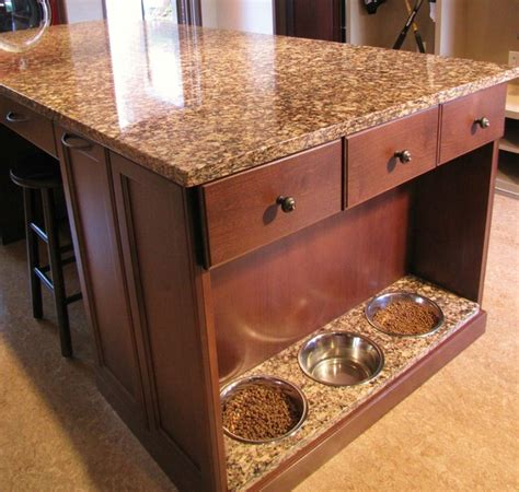 Inexpensive Kitchen Countertop Ideas doggie cafe dog food feeding station traditional
