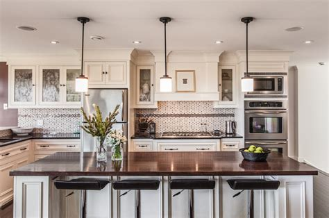 Hanging Lights Kitchen Island My Houzz Custom Transitional Home With View