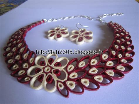 How To Make Necklace With Paper - free form quilling paper quilling jewelry set fah01 226