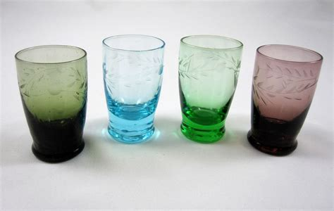 Colored Glass L by Cordials Glasses 4 Vintage Colored Glass Barware