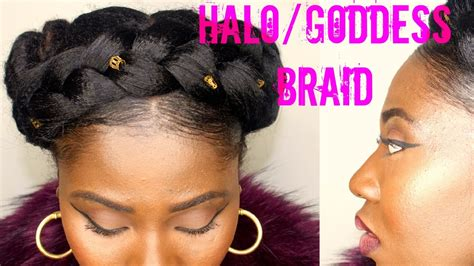 how to do a halo braid with weave halo braid on natural hair youtube
