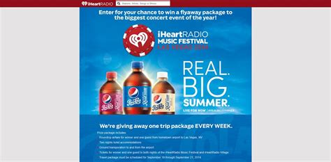 Pepsi Ticket Giveaway - pepsi s iheartradio music festival ticket sweepstakes a flyaway package to the