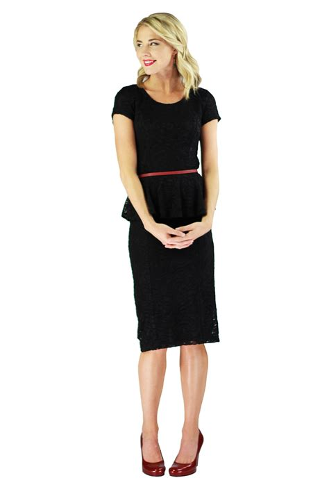 Modest Dresses by Modest Peplum Dress In Black Lace
