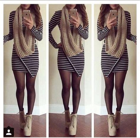 Flannel Duvet Dress Stripes Striped Dress Scarf Beige Dress Tights