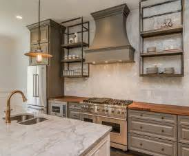 Gray kitchen cabinets with butcher block top vintage kitchen