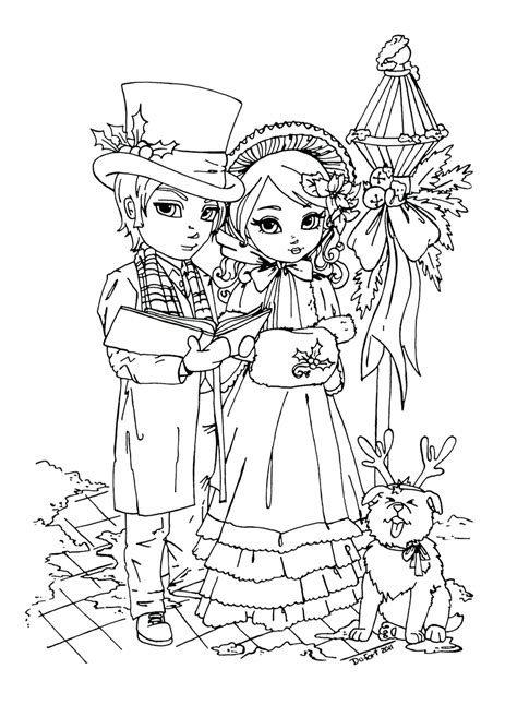coloring page christmas carolers xmas carolers by jadedragonne on deviantart