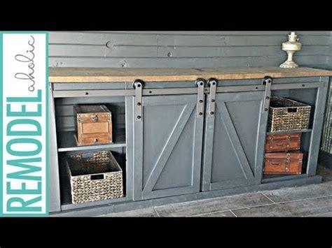 build  sliding barn door   media cabinet youtube