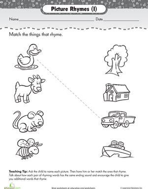 Rhyming Words Worksheets For Kindergarten by Matching Rhyming Words Worksheet Education