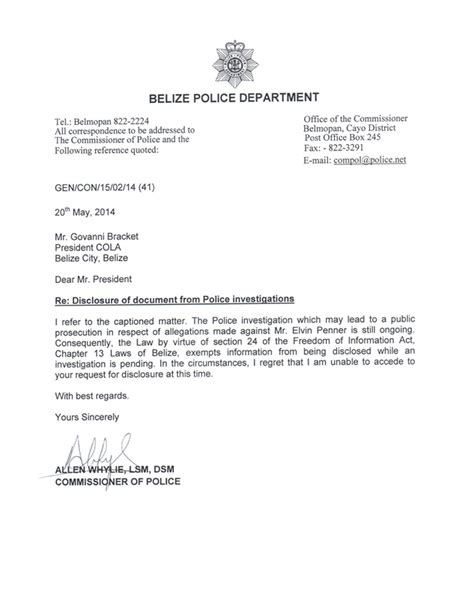 cola demands penner file from commissioner belize