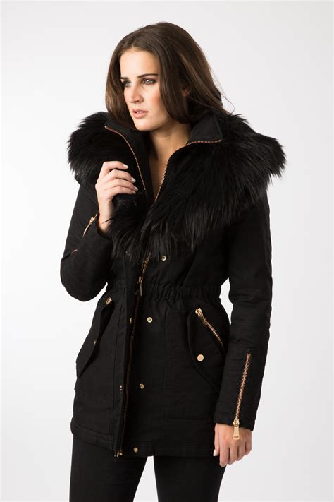 Parka Black by Am Black Faux Fur Trim Parka Coat Ebay