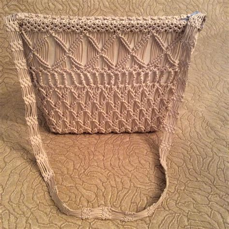 Macrame Thread Bags - crocheted cord shoulder bag or macrame vintage ecru with