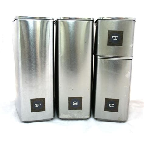Kitchen Canisters Stainless Steel Vintage Stainless Steel Canister Set Kitchen