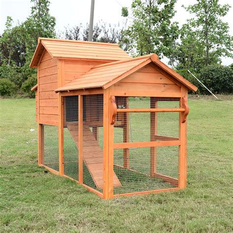 Backyard Chicken Coops Review Pawhut Deluxe Wood Chicken Coop Nesting Box Backyard Poultry Hen House W Run Aosom Ca