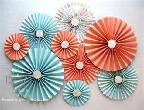 Paper Rosettes - 9 pc aqua light coral silver rosettes paper fans