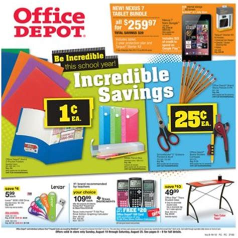 Office Depot Near Me Weekly Ad Office Depot Back To School Deals Folders And Pencil
