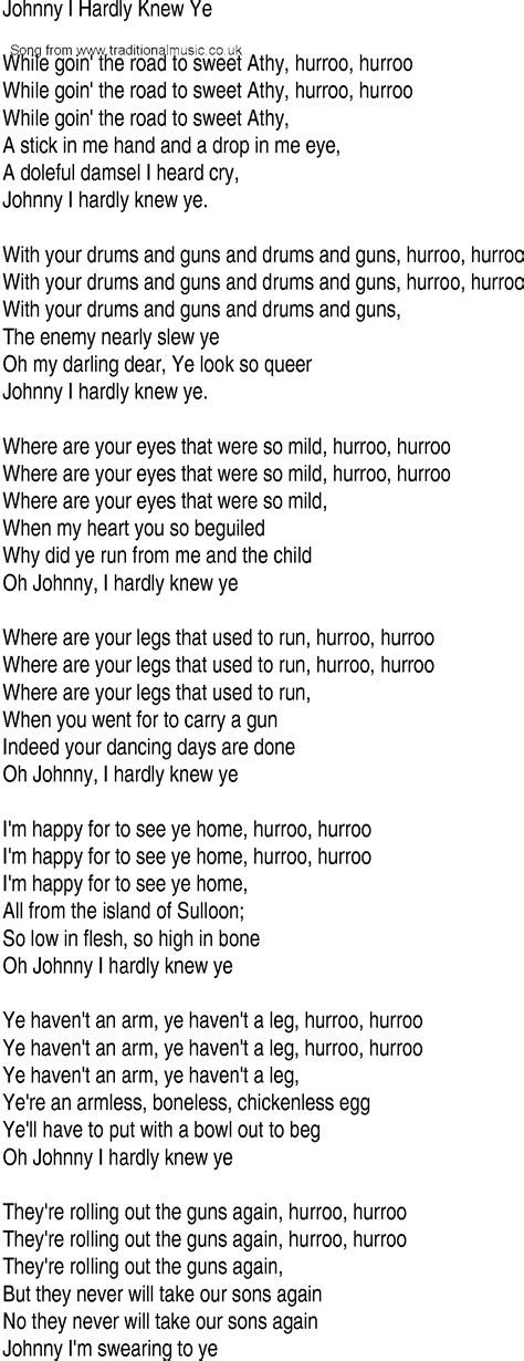 song and ballad lyrics for johnny come