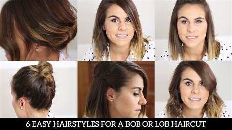 4 ways to style the lob 6 easy hairstyles for a bob or lob haircut youtube